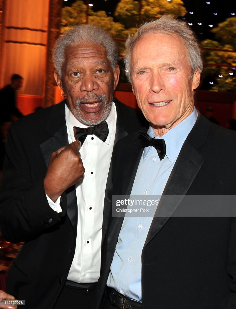 39th Life Achievement Award recipient <a gi-track='captionPersonalityLinkClicked' href=/galleries/search?phrase=Morgan+Freeman&family=editorial&specificpeople=169833 ng-click='$event.stopPropagation()'>Morgan Freeman</a> (L) and Director <a gi-track='captionPersonalityLinkClicked' href=/galleries/search?phrase=Clint+Eastwood&family=editorial&specificpeople=201795 ng-click='$event.stopPropagation()'>Clint Eastwood</a> in the audience at the 39th AFI Life Achievement Award honoring <a gi-track='captionPersonalityLinkClicked' href=/galleries/search?phrase=Morgan+Freeman&family=editorial&specificpeople=169833 ng-click='$event.stopPropagation()'>Morgan Freeman</a> held at Sony Pictures Studios on June 9, 2011 in Culver City, California. The AFI Life Achievement Award tribute to <a gi-track='captionPersonalityLinkClicked' href=/galleries/search?phrase=Morgan+Freeman&family=editorial&specificpeople=169833 ng-click='$event.stopPropagation()'>Morgan Freeman</a> will premiere on TV Land on Saturday, June 19 at 9PM