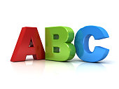 3d abc letters isolated over white background with reflection.