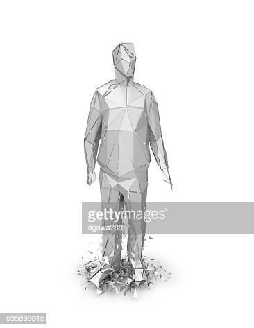 3d abstract geometric person chattered, stress and fear idea illustration. : Stock Photo