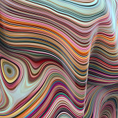 3d abstract wavy lines background, paint blobs and bubbles, ripple, artificial marbled texture