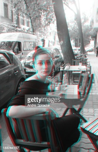 3d anaglyph girl on the terrace of a restaurant : Stock Photo