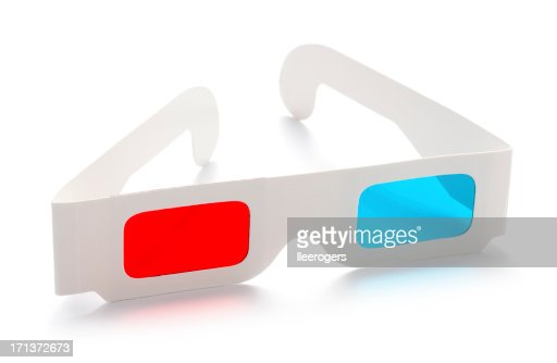 3d anaglyphic stereoscopic cinema glasses isolated on a white background
