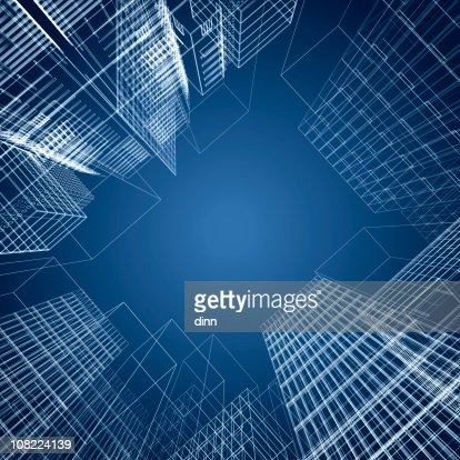 3d architectural square of wireframe buildings : Stock Photo