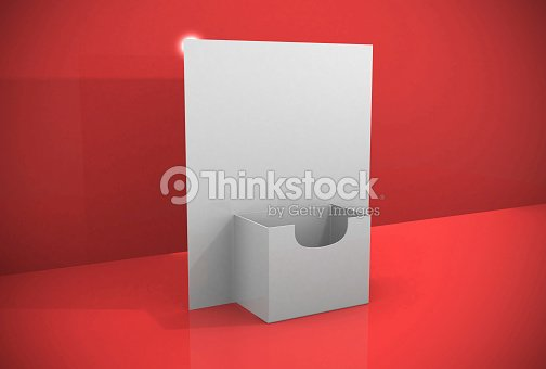 3d blank brochure holder template stock photo