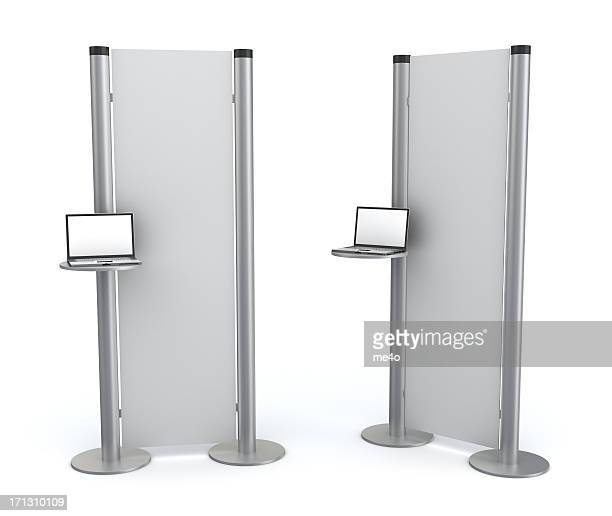 3d blank  information stand with laptop