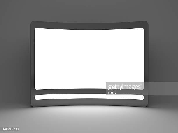 3 d blanc panneau publicitaire numérique debout