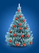3d illustration of blue Christmas tree over blue background with lights and red balls