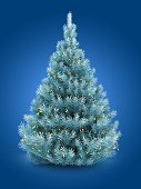 3d illustration of blue Christmas tree over blue background with lights