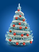 3d illustration of blue Christmas tree over blue background with tinslel and red balls