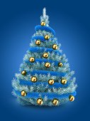 3d illustration of blue Christmas tree over blue background with blue tinslel and golden balls