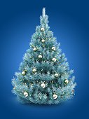 3d illustration of blue Christmas tree over blue background with lights and chrome balls