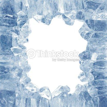 3d Broken Blue Ice Background Square Hole Frame Stock Photo | Thinkstock