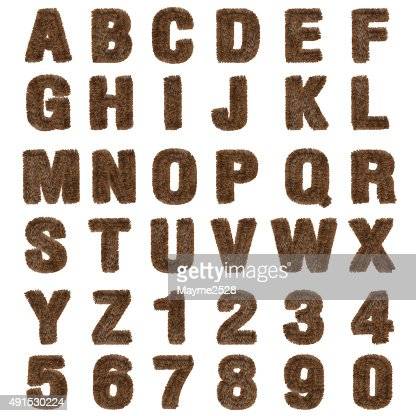 3d brown fur Font Style : Stock Photo
