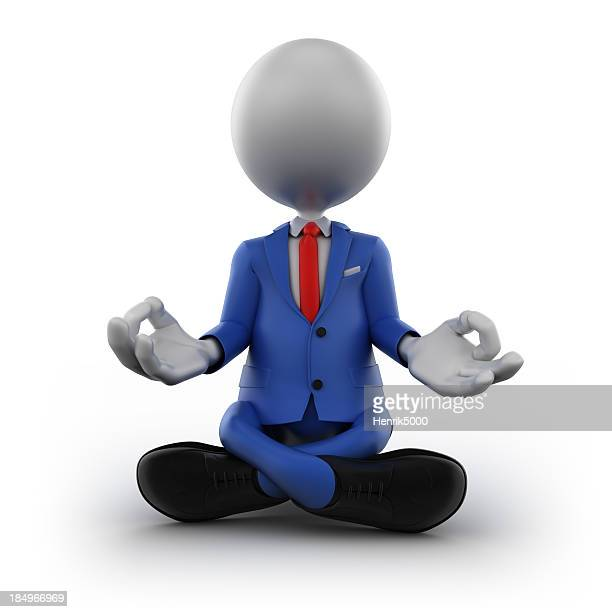 3d businessman meditating, isolated with clipping path