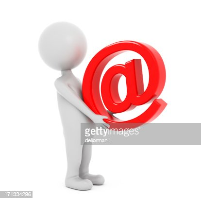 3d Character Carrying Email Symbol : Stockfoto