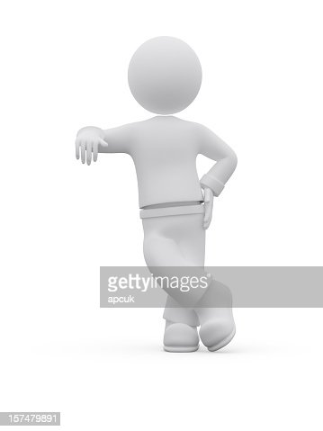 3d character leaning. : Stock Photo