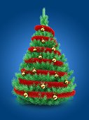 3d illustration of Christmas tree over blue background with red tinsel and golden balls