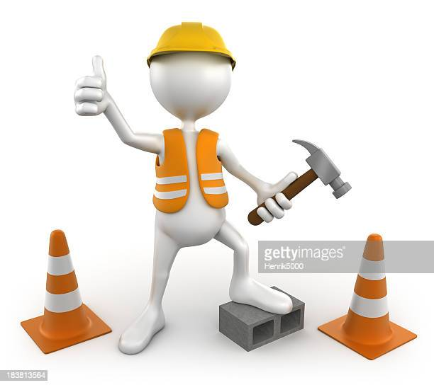 3d Construction worker, isolated with clipping path