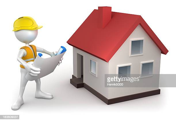 3d Construction worker - plans and house, isolated/clipping path