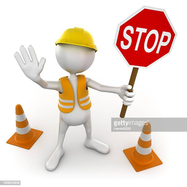 3d Costruction worker with stop sign, isolated / clipping path