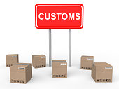 3d render of customs sign board with shipping cartons