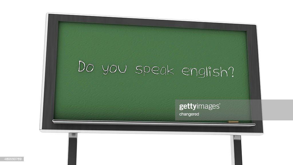 3 d ¿habla inglés pizarra : Foto de stock