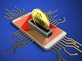 3d illustration of white phone over blue background with electronic circuit and coin