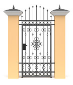 3d gate with wrought iron decor