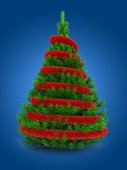 3d illustration of green Christmas tree over blue background with red tinsel