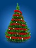 3d illustration of green Christmas tree over blue background with red tinsel and golden balls