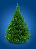 3d illustration of green Christmas tree over blue background with lights