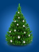 3d illustration of green Christmas tree over blue background with lights and chrome balls