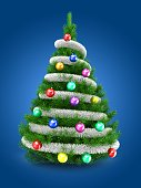 3d illustration of green Christmas tree over blue background with tinslel and colorful balls