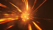3d illustration abstract fire wormhole with flash