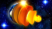 3d illustration of a cross-section and the structure of the earth from inner core to crust