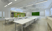 3d illustration of a brightly lit classroom
