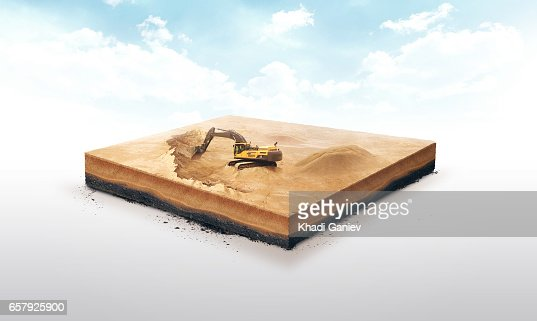 3d illustration of a soil slice, excavation work on Sand quarry isolated on white background : Stock Photo