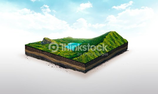 3d illustration of a soil slice, green mountains with lake isolated on white background : Stock Photo
