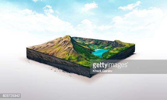 3d illustration of a soil slice, high mountains with lake isolated on white background : Stock Photo