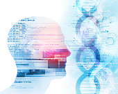 3d illustration of human head on dna molecules  abstract technology background , concept of