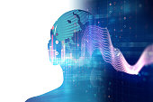 3d illustration of human with headphone on Audio waveform abstract technology