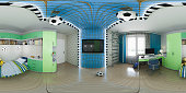 3d illustration of nursery interior design. Spherical 360 degrees, seamless panorama modern studio apartment. Football style play room interior