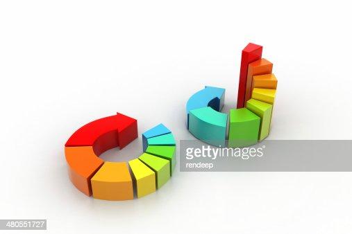 3 d ilustración de colorido de diagrama de negocios : Foto de stock