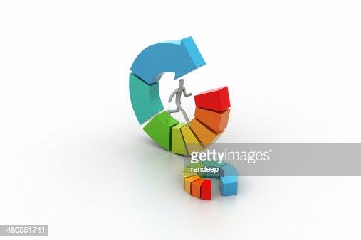 3 d ilustração de anel gráfico de negócios colorido : Foto de stock