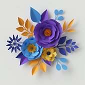 3d render, digital illustration, paper flowers, floral background, wedding card, quilling, Valentine's day greeting card template, bridal bouquet, romantic composition