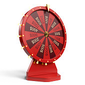 3d illustration red wheel of luck or fortune. Realistic spinning fortune wheel. Wheel fortune isolated on white background