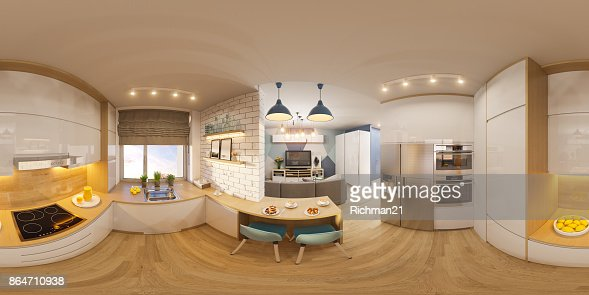 3d illustration spherical 360 degrees, seamless panorama of living room interior design. Modern studio apartment in the Scandinavian minimalist style : Stock Illustration