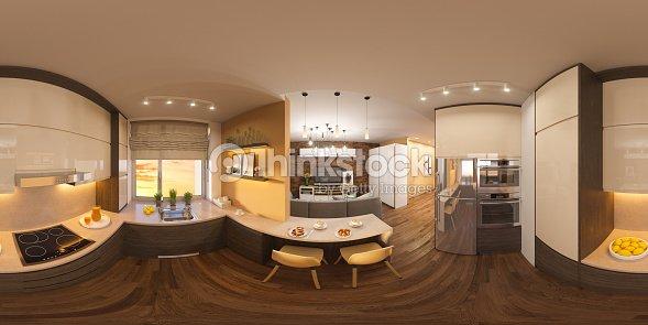 3d Darstellung Spharischer 360 Grad Nahtlosen Panorama Aus
