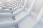 3d illustration. White architectural abstract composition. The framework of repetitive elements in perspective. Images and associations: the skeleton, spine; modern skyscraper with balconies; tunnel.