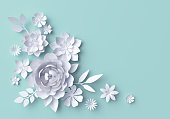 3d illustration, white paper flowers, decorative floral background, wedding album page, greeting card